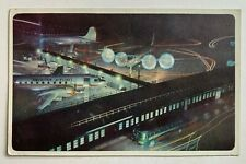 Postcard American Airlines vintage Dc-6 Convair flagships planes night view bus