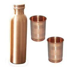 Pure Copper Bottle With Glass Set/For Health Benefits/Gym And Yoga/Daily Use