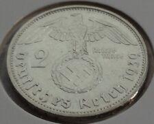 Germany 2 REICHSMARK SILVER MARK HINDENBURG SWASTIKA 1939 F Third Reich