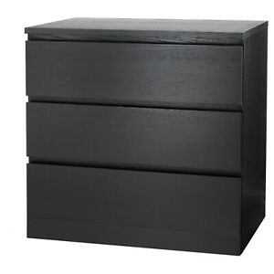 Malm Dresser With 3 Drawers, Black-Brown, 80x78 CM, Storage, Wardrobe