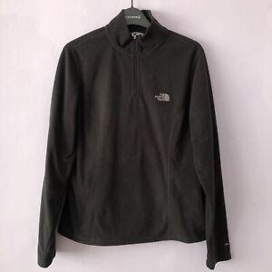 "North Face Womens Black Quarter Zip Fleece Jumper Size M - Pit To Pit 17"""