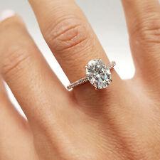 1.54 Carat Oval Cut D - VS2 Hidden Halo Diamond GIA Engagement Ring sizeable