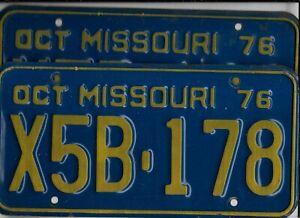 """MISSOURI passenger 1976 license plate *PAIR* """"X5B-178"""" ***PAIR***"""