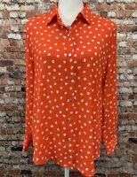 Rachel Zoe Women's Size M Red Floral Button Front Long Sleeve Top Shirt #3C51