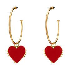 Fashion Women Love Heart Circle Pendant Stud Earrings Statement Jewelry Gifts Fe