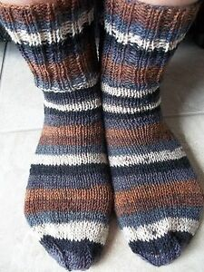 Hand knitted striped wool blend socks,brown/gray/white/black