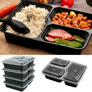 20Pcs/Set Food Storage Lunch Box Meal Prep Containers 3 Compartment Reusable