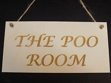 """""""The Poo Room"""" Bagno Toilette Porta Firmare Divertenti Novità Regalo Scherzo PLACCA IN LEGNO"""