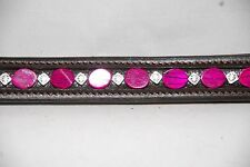 """15""""  (Cob) Brown Browband Fuschsia Mother of Pearl and Metal Decrotive Bead"""