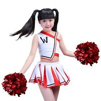 Girls Red Cheerleader Uniform Outfit Dance Costume Youth pom-poms