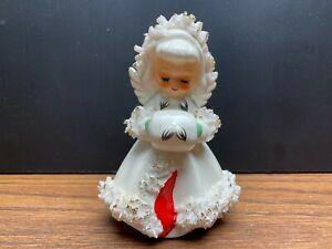 Vintage Howard Holt Christmas Angel Figurine Candlestick Holder Spaghetti Trim