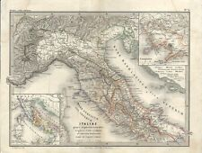 Carta geografica antica ITALIA SETTENTRIONALE CENTRALE 1866 Old antique map
