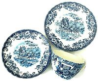 Johnson Brothers 3 Piece Set Coaching Scenes Blue Cup, Saucer & Bread And Butter