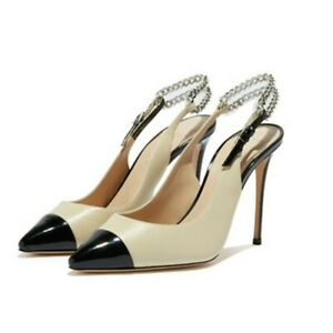 Womens Slingback Sandals Stiletto High Heels Sexy Colorblock Pointed Toe Shoes