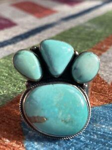 Kingman Turquoise Bear Claw Ring, Native American, Adjustable, Artist P. Johnson