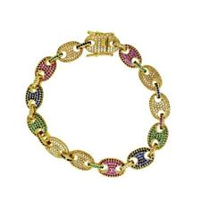Bracelet Gold Rainbow Hip Hop Jewelry Multicolor Marine Bling Bling Iced Out