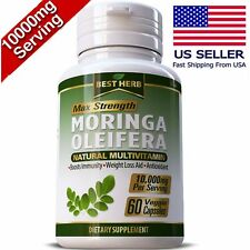 MORINGA OLEIFERA LEAF PILLS 60 CAPSULES NATURAL MULTI VITAMIN 10,000mg ORGANIC