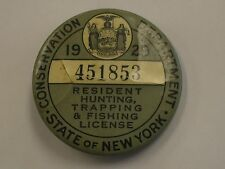Trap Tag New York 1929 Resident Hunt, Fish, Trap Button License