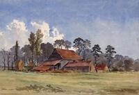 FARM BUILDINGS HAMPSTEAD FIELDS Antique Watercolour Painting c1930