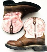 VTG WOMENS JUSTIN GYPSY COWBOY LEATHER BROWN & PINK BOOTS SIZE 7 B