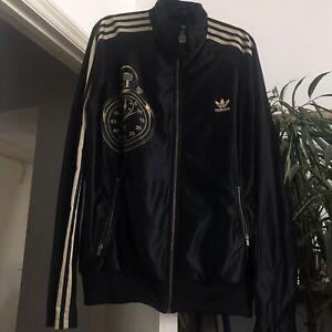 Rare Adidas Three Stripe Jacket Black Gold Clock Wavy Garms 90s Rave