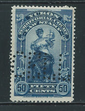 Canada #YL9(10) PERFIN 1903 50 cent blue YUKON LAW - TERRITORIAL COURT CV$5.00