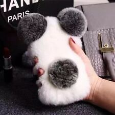 3D Cute New Luxury Winter Warm Furry Rabbit Fur Hair Panda Bear Soft Case Cover
