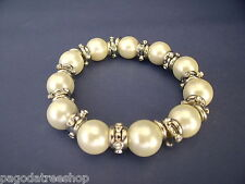 New Stretch Bracelet of Faux Pearls with Silver & Diamante Spacers