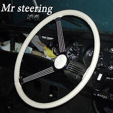 Para MG TF Enano 53-55 Blanco De Mejor Calidad Cuero Italiano cubierta del volante