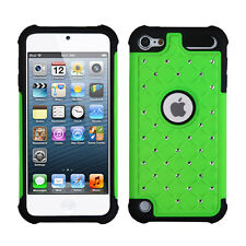 iPod Touch 5th & 6th Gen -HARD&SOFT RUBBER HYBRID CASE GREEN BLACK DIAMOND BLING
