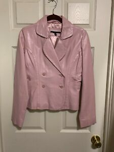 Insuede Pink Double Breasted Line Leather Jacket Sz.S