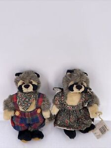 """Ganz Cottage Collectibles Rita and Ricky Raccoon Plush 1995 By Lorraine 10"""""""