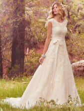 New White/ivory Cap Sleeve Lace applique Wedding Dress Bridal Gown Custom Size
