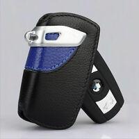 1Pc Blue Genuine Leather BMW Key Case Bag Sport Line Fits BMW 2 3 5Series X3