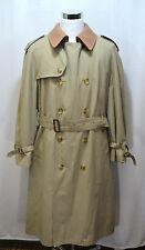 BROOKS BROTHERS Men's Double Breasted Fully Lined Trench Coat Wool Brown