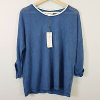 [ THREADZ ] Womens Blue Heart Embroidered Top NEW   | Size XL or AU 16 / US 12