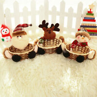 3PC Merry Xmas Candy Storage Basket Decoration Santa Claus Gift Storage Baskets