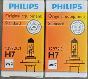 LOT OF 2 HEADLIGHT BULBS PHILIPS H7C1 12972C1 STANDARD