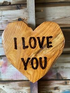 Chainsaw Carvings Carved Heart with message wooden carvings gifts present