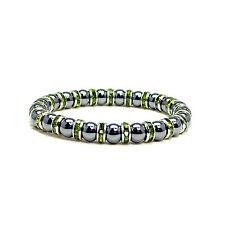 "Womens Magnetic Hematite Tuchi Pearl Bracelet with Peridot Crystal 7.5"""