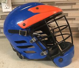 STRYKE PRO Z Lacrosse Helmet Adult Medium (7-7-3/8) (22-23-1/8) Blue