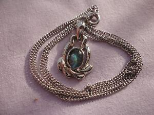 "Silver-plated blue glass opal 2 cm pendant 18"" fine curb chain 3 gram necklace"