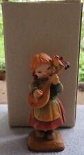 Vintage Anri Hand Carved Wooden Figurine Melody For Two Playing Banjo to Bird