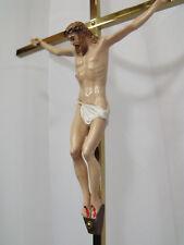 JESUS CHRIST Holy Cross INRI WALL CRUCIFIX BRASS  VINTAGE Religious  SPAIN