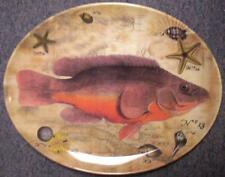 MUD PIE Oval Platter, Melamine, 16 x 12-3/4, 'Fish' picture-NEW-NR