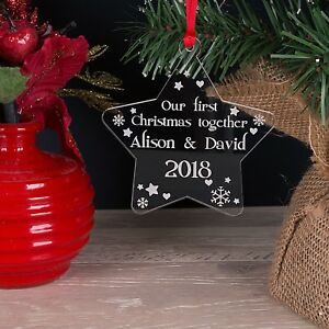 Personalised Acrylic Our First Christmas Tree Star Decoration Bauble Xmas Gift