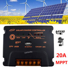CPY 20A MPPT Solar Panel Controller Battery Charge Regulator 12V/24V Auto W/ USB