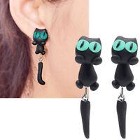 1 coppia orecchini Gatto Nero Occhi Verdi orecchino gattino pendente bigiotteria