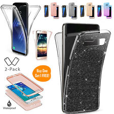 Case For Samsung S9 S8 S7 S6 J3 A5 Front Back 3D Glitter Clear Shockproof Cover