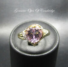 9ct Gold Heart Shaped Rose de France Amethyst and Diamond Ring Size M 1/2 3.3g